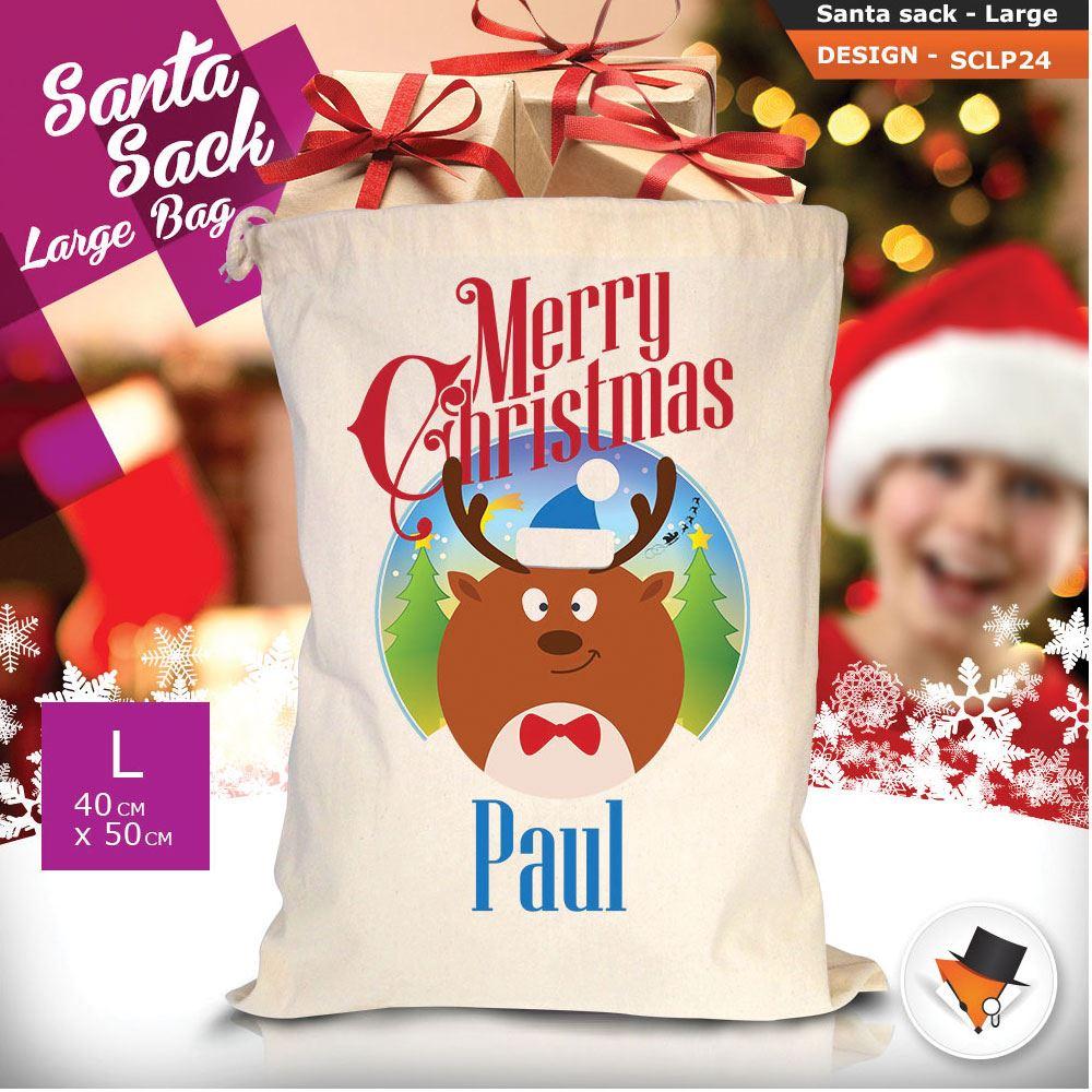 Personalizzato-Per-Bambini-Babbo-Natale-Sacco-Sacchetto-Cartone-Animato-Carina-Renna-Rosso miniatura 54