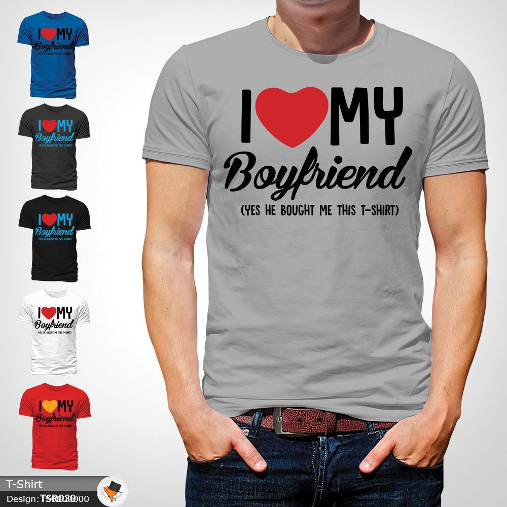 Love My Boyfriend Funny Christmas Present T Shirt Tshirt T Shirt Gay Lgbt Gray Ebay