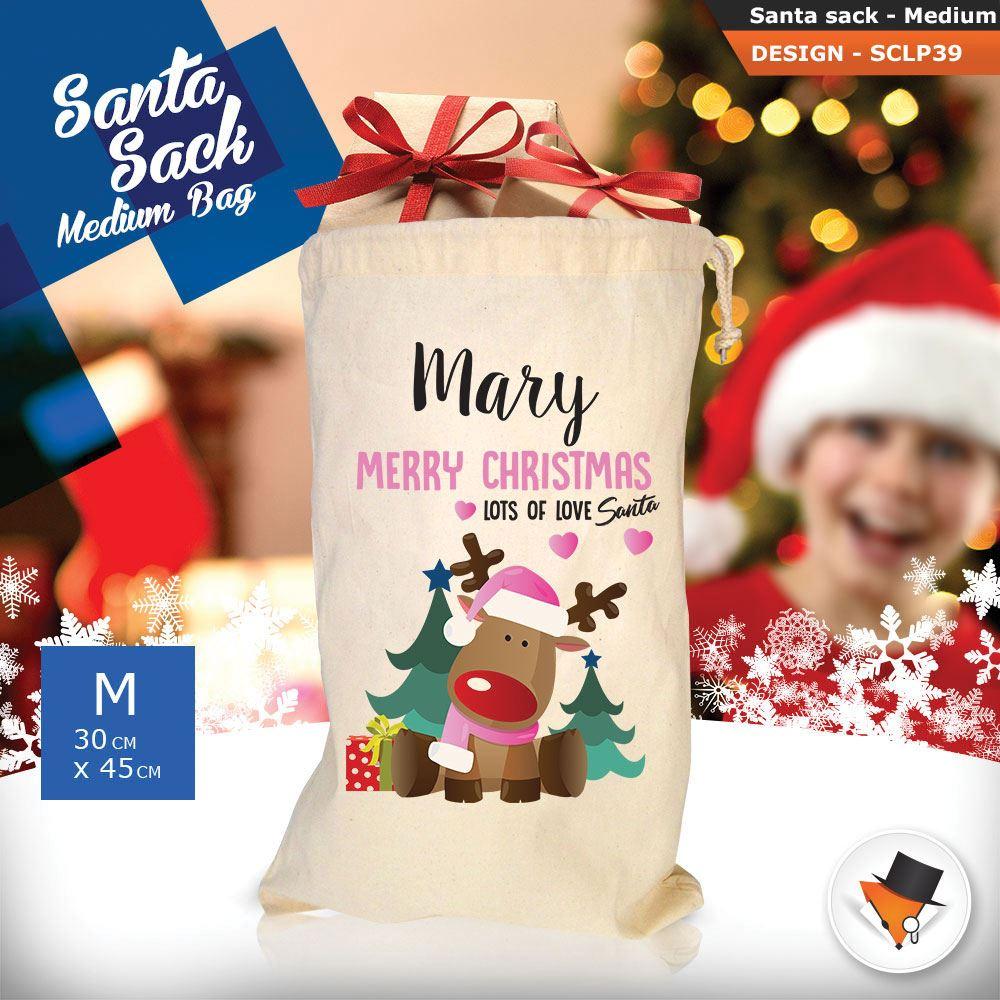 Personalizzato-Per-Bambini-Babbo-Natale-Sacco-Sacchetto-Cartone-Animato-Carina-Renna-Rosso miniatura 114
