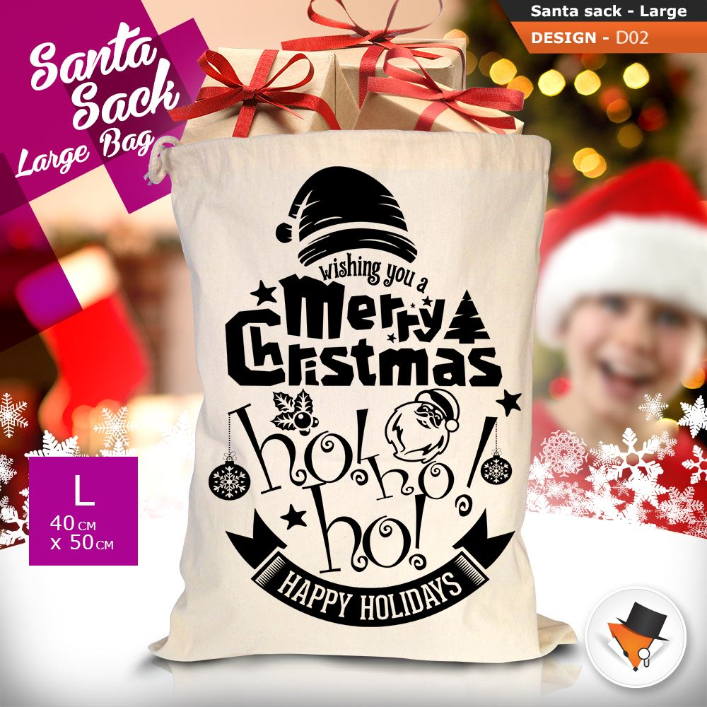 GRANDE-Babbo-Natale-Sacco-Babbo-Natale-Borsa-per-i-REGALI-DONI-NATALE-Calze-Di-Cotone miniatura 9