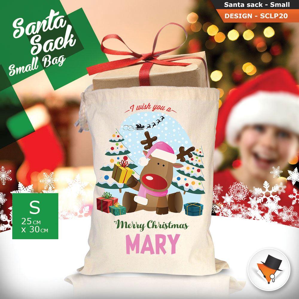 Personalizzato-Per-Bambini-Babbo-Natale-Sacco-Sacchetto-Di-Natale-Renna-Cartone-Animato-Carina-Rosa miniatura 38