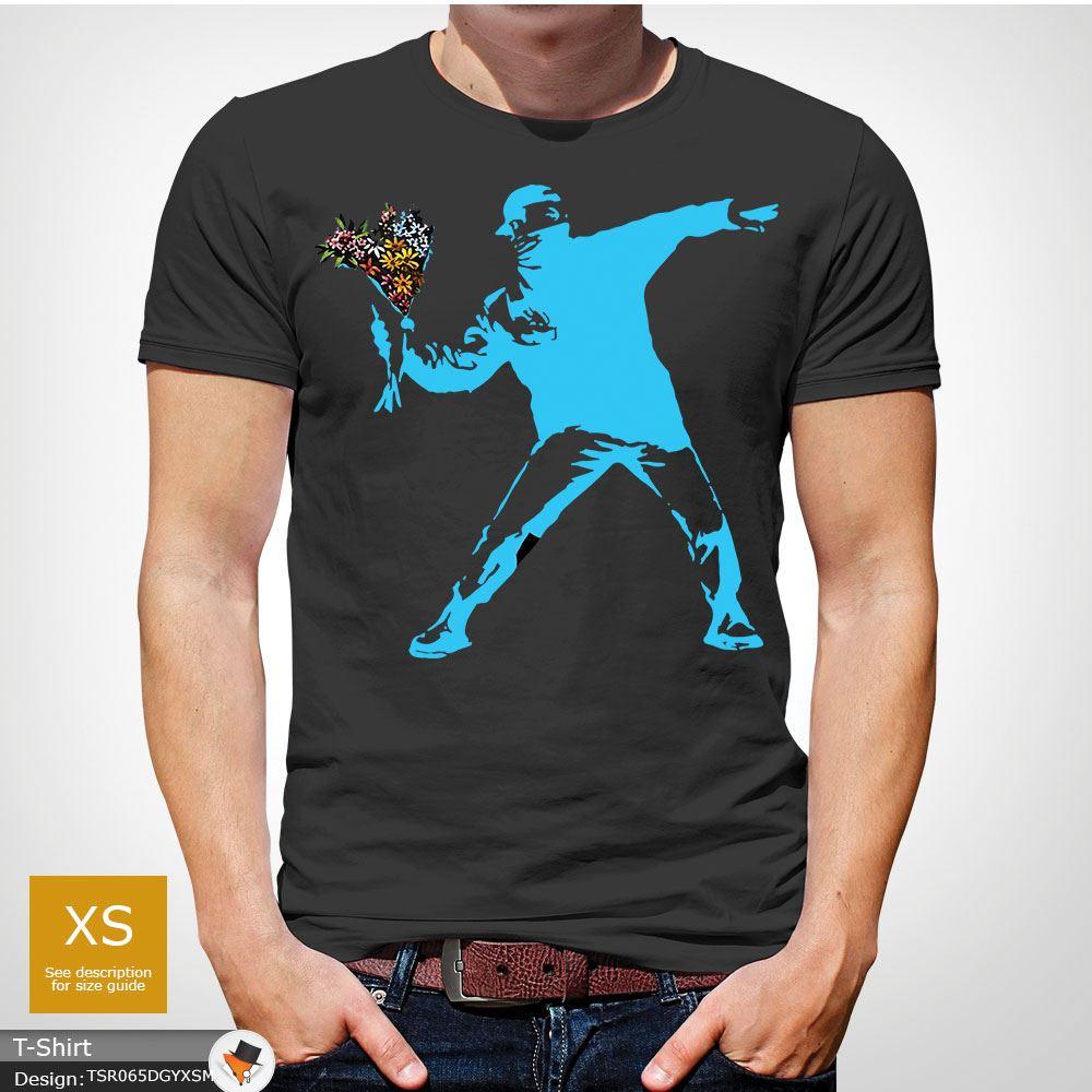 BANKSY-FLOWER-THROWER-STREET-ART-Tshirt-Unisex-T-Shirt-Christmas-Birthday-Blue miniatuur 21