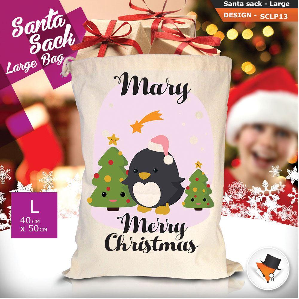 Personalizzato-Per-Bambini-Babbo-Natale-Sacco-Sacchetto-Di-Natale-Renna-Cartone-Animato-Carina-Rosa miniatura 10