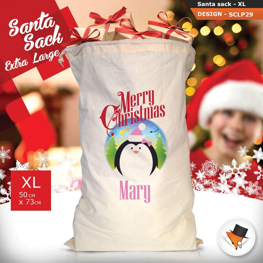 Personalizzato-Per-Bambini-Babbo-Natale-Sacco-Sacchetto-Cartone-Animato-Carina-Renna-Rosso miniatura 73