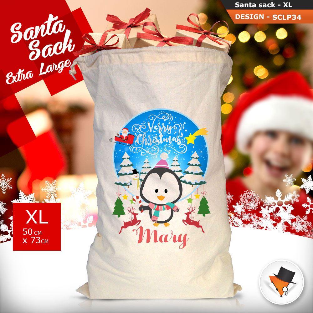 Personalizzato-Per-Bambini-Babbo-Natale-Sacco-Sacchetto-Cartone-Animato-Carina-Renna-Rosso miniatura 94