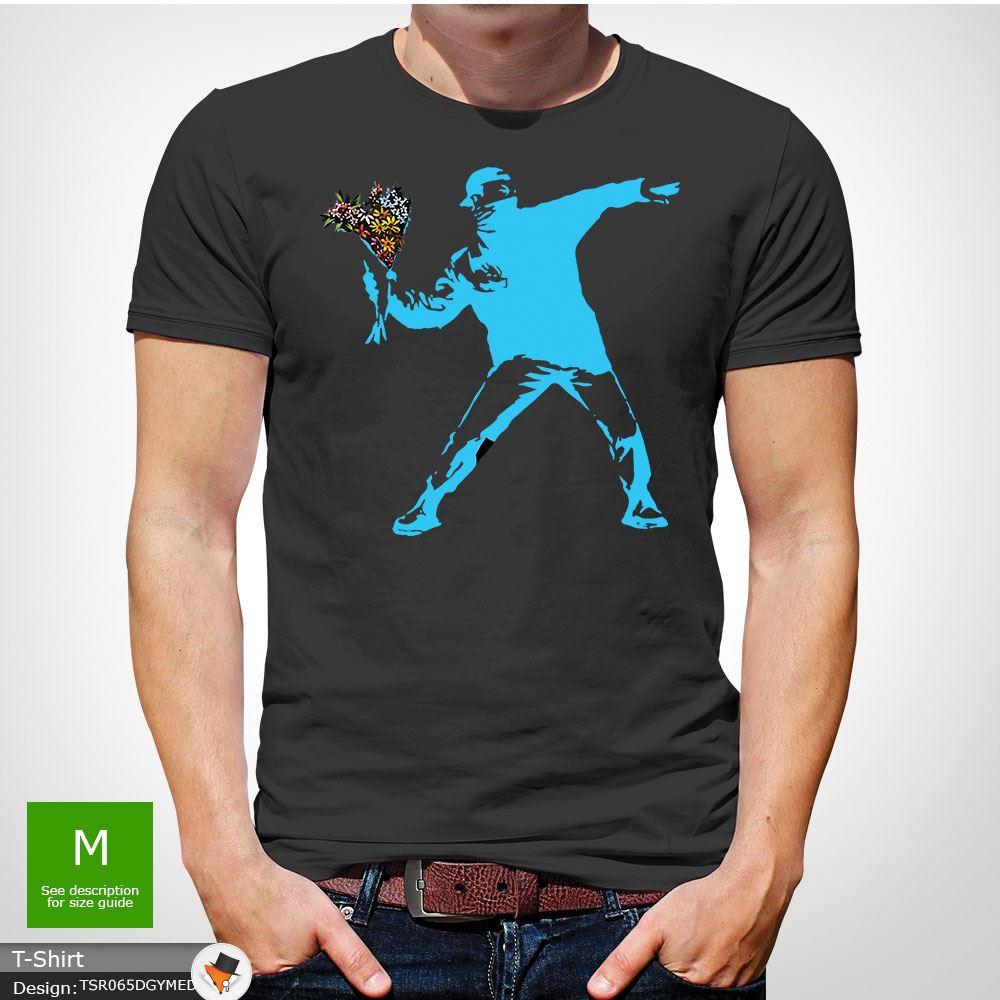 BANKSY-FLOWER-THROWER-STREET-ART-Tshirt-Unisex-T-Shirt-Christmas-Birthday-Blue miniatuur 20