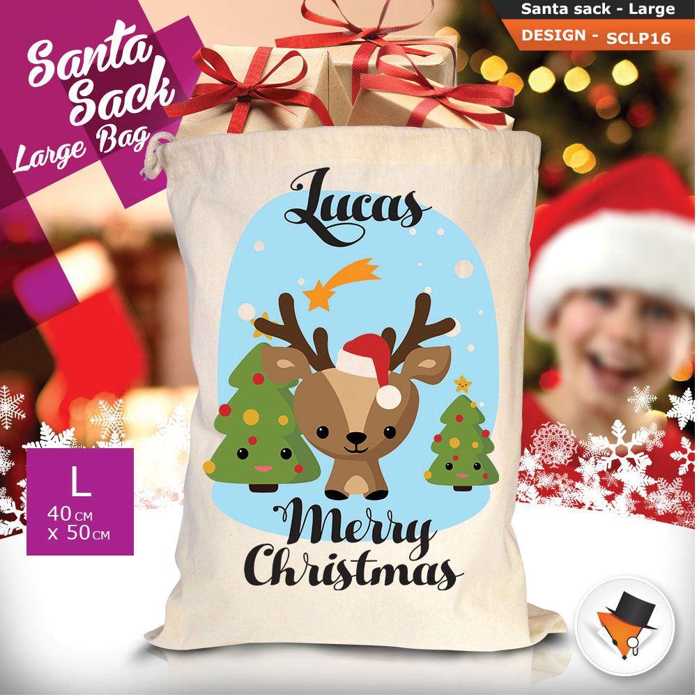 Personalizzato-Per-Bambini-Babbo-Natale-Sacco-Sacchetto-Di-Natale-Renna-Cartone-Animato-Carina-Rosa miniatura 21