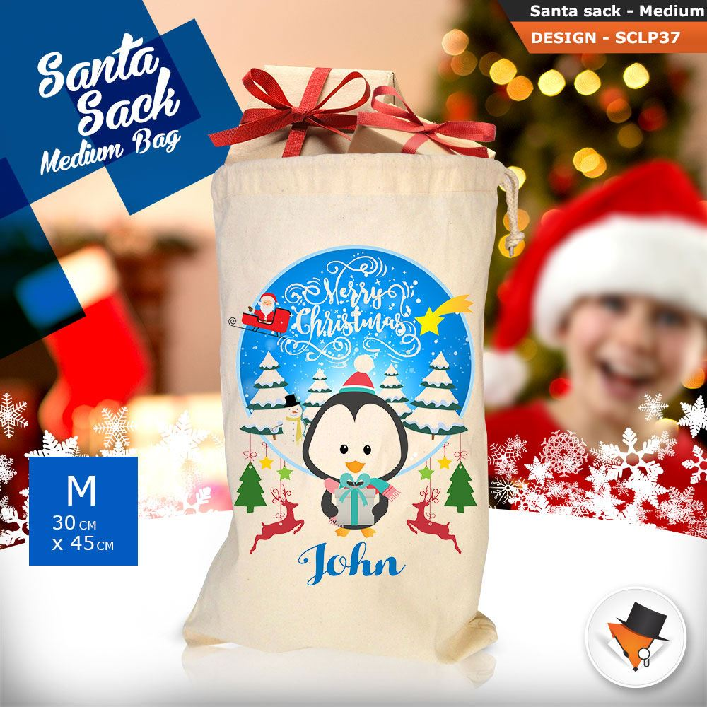 Personalizzato-Per-Bambini-Babbo-Natale-Sacco-Sacchetto-Cartone-Animato-Carina-Renna-Rosso miniatura 105