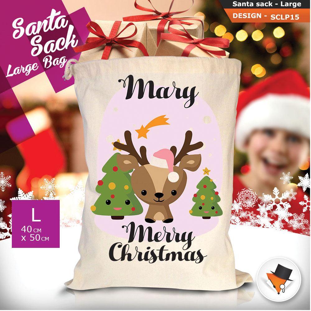 Personalizzato-Per-Bambini-Babbo-Natale-Sacco-Sacchetto-Cartone-Animato-Carina-Renna-Rosso miniatura 17
