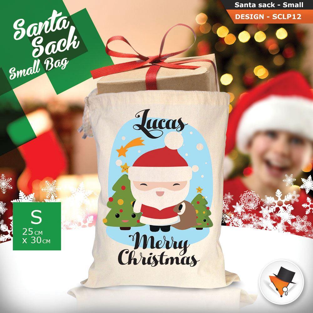 Personalizzato-Per-Bambini-Babbo-Natale-Sacco-Sacchetto-Cartone-Animato-Carina-Renna-Rosso miniatura 5