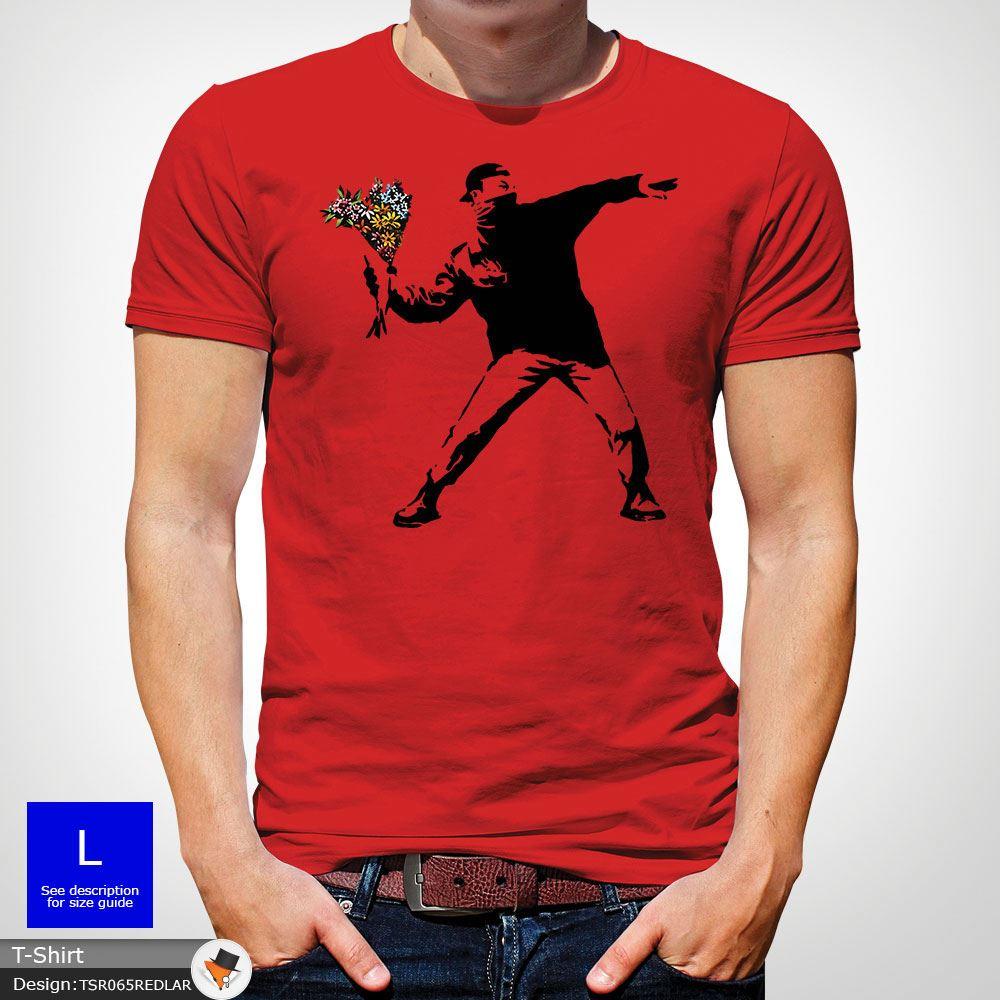 BANKSY-FLOWER-THROWER-STREET-ART-Tshirt-Unisex-T-Shirt-Christmas-Birthday-Blue miniatuur 36