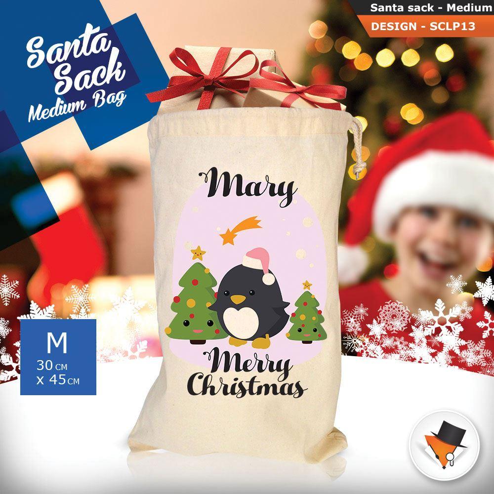 Personalizzato-Per-Bambini-Babbo-Natale-Sacco-Sacchetto-Cartone-Animato-Carina-Renna-Rosso miniatura 9