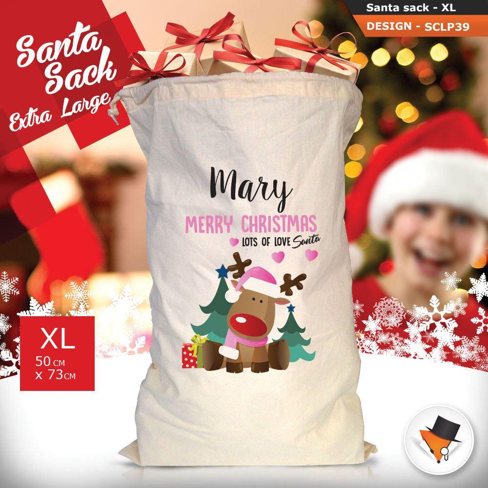 Personalizzato-Per-Bambini-Babbo-Natale-Sacco-Sacchetto-Cartone-Animato-Carina-Renna-Rosso miniatura 112