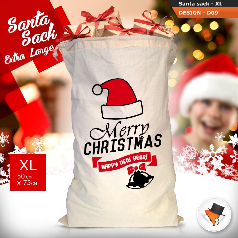 GRANDE-Babbo-Natale-Sacco-Babbo-Natale-Borsa-per-i-REGALI-DONI-NATALE-Calze-Di-Cotone miniatura 37