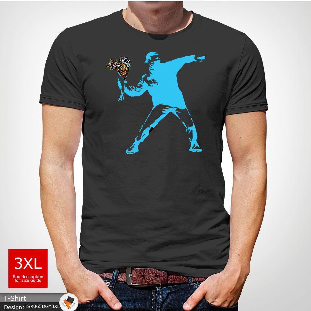 BANKSY-FLOWER-THROWER-STREET-ART-Tshirt-Unisex-T-Shirt-Christmas-Birthday-Blue miniatuur 19