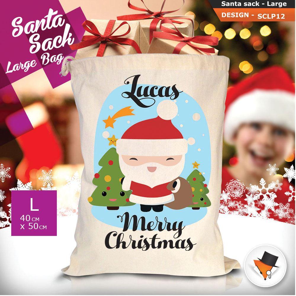 Personalizzato-Per-Bambini-Babbo-Natale-Sacco-Sacchetto-Cartone-Animato-Carina-Renna-Rosso miniatura 6