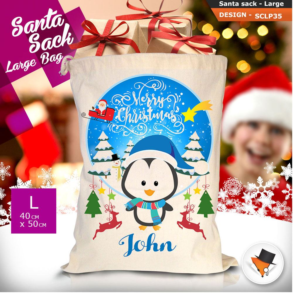 Personalizzato-Per-Bambini-Babbo-Natale-Sacco-Sacchetto-Cartone-Animato-Carina-Renna-Rosso miniatura 97