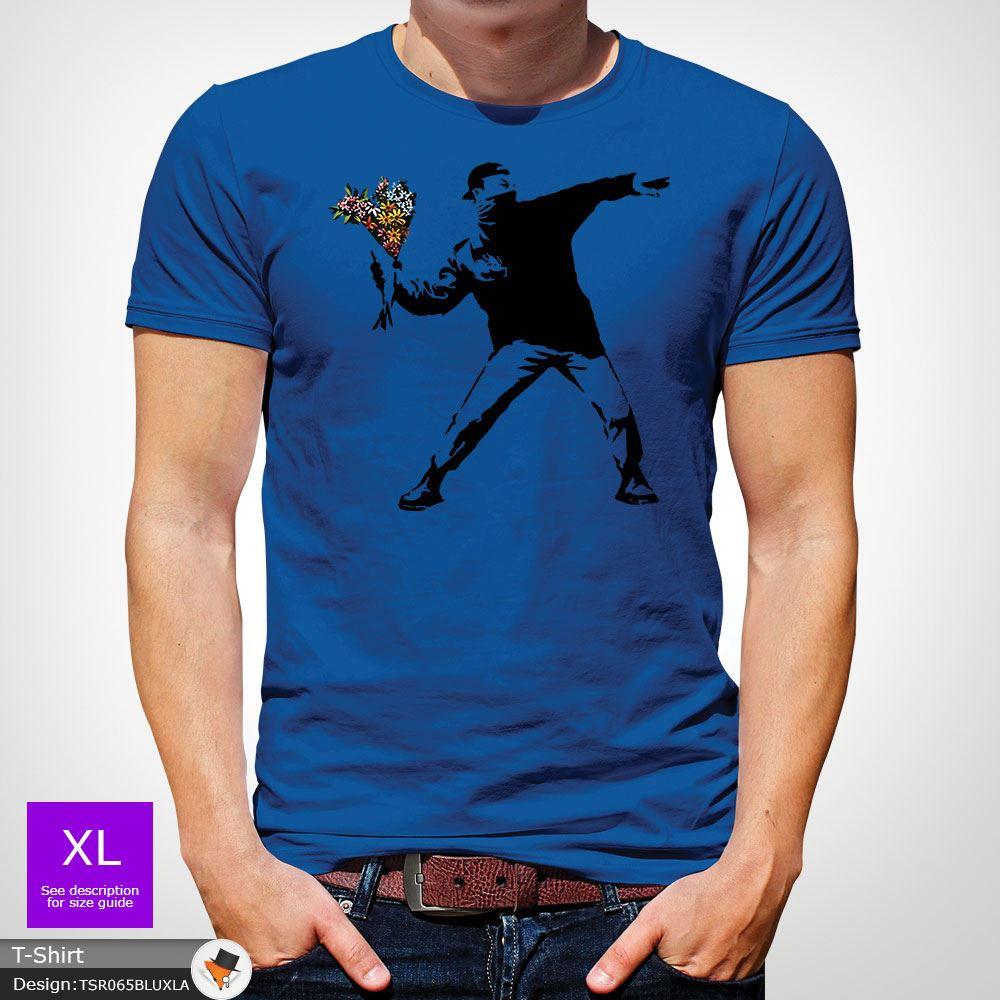 BANKSY-FLOWER-THROWER-STREET-ART-Tshirt-Unisex-T-Shirt-Christmas-Birthday-Blue miniatuur 41