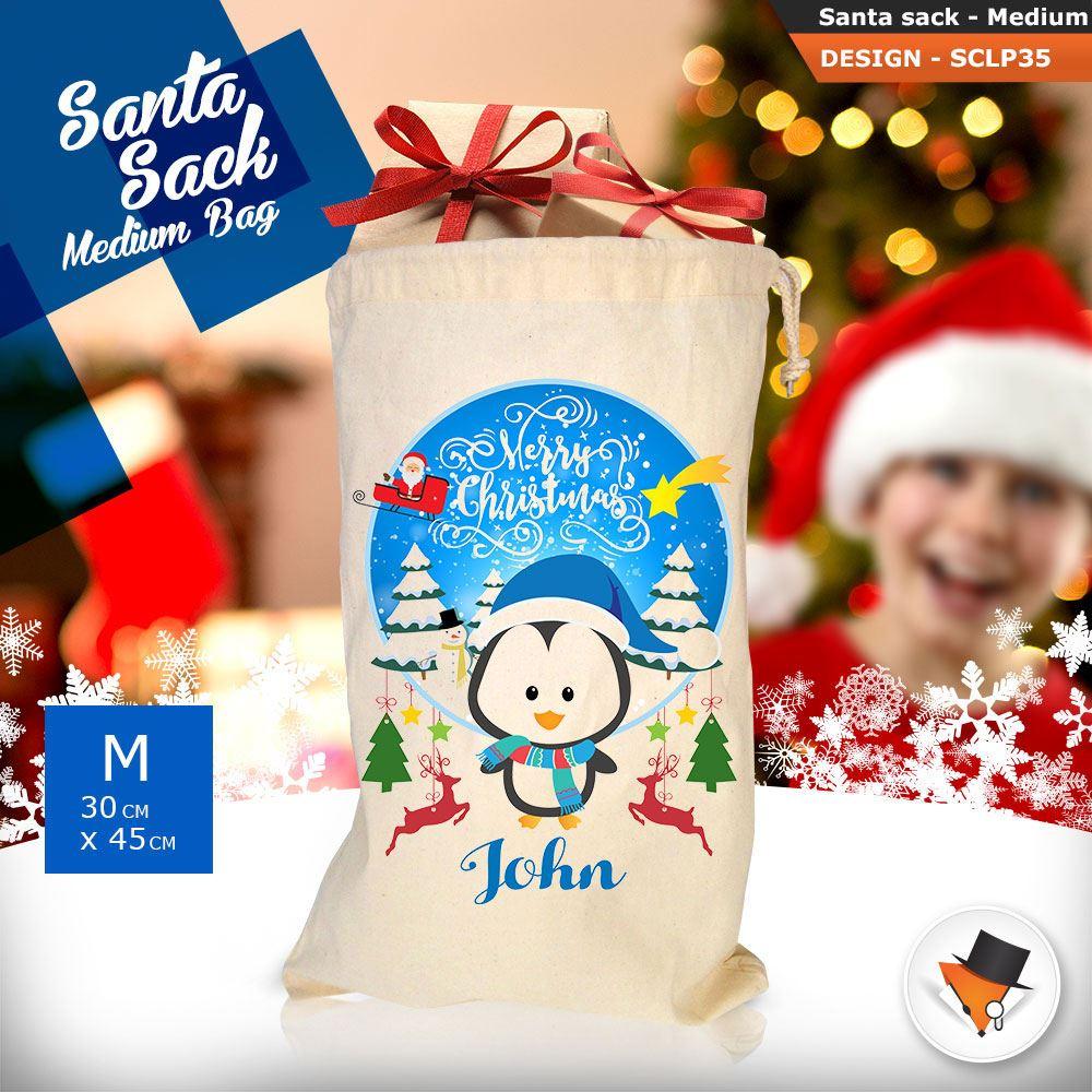 Personalizzato-Per-Bambini-Babbo-Natale-Sacco-Sacchetto-Cartone-Animato-Carina-Renna-Rosso miniatura 96