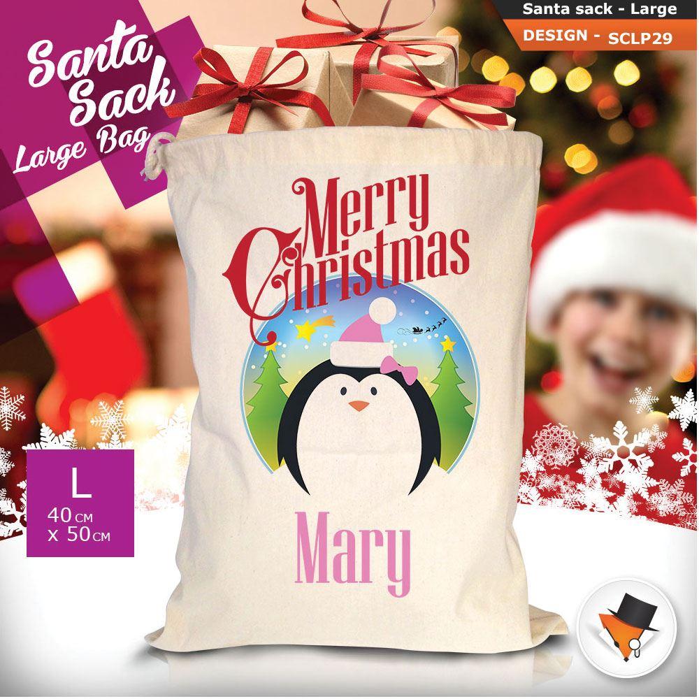 Personalizzato-Per-Bambini-Babbo-Natale-Sacco-Sacchetto-Di-Natale-Renna-Cartone-Animato-Carina-Rosa miniatura 74