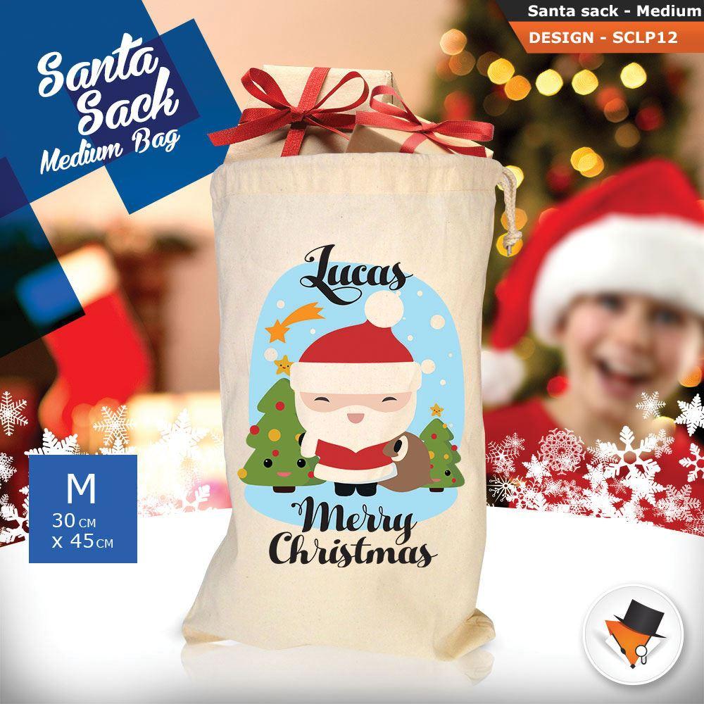 Personalizzato-Per-Bambini-Babbo-Natale-Sacco-Sacchetto-Di-Natale-Renna-Cartone-Animato-Carina-Rosa miniatura 5