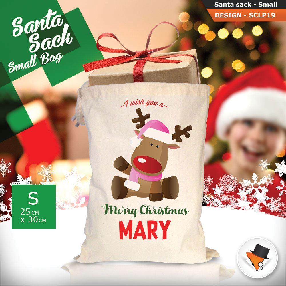 Personalizzato-Per-Bambini-Babbo-Natale-Sacco-Sacchetto-Cartone-Animato-Carina-Renna-Rosso miniatura 34