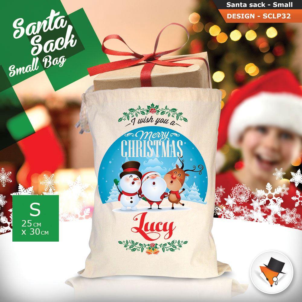 Personalizzato-Per-Bambini-Babbo-Natale-Sacco-Sacchetto-Di-Natale-Renna-Cartone-Animato-Carina-Rosa miniatura 86
