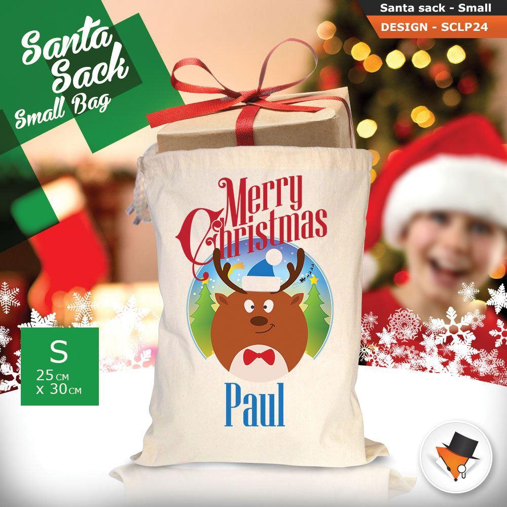Personalizzato-Per-Bambini-Babbo-Natale-Sacco-Sacchetto-Di-Natale-Renna-Cartone-Animato-Carina-Rosa miniatura 54