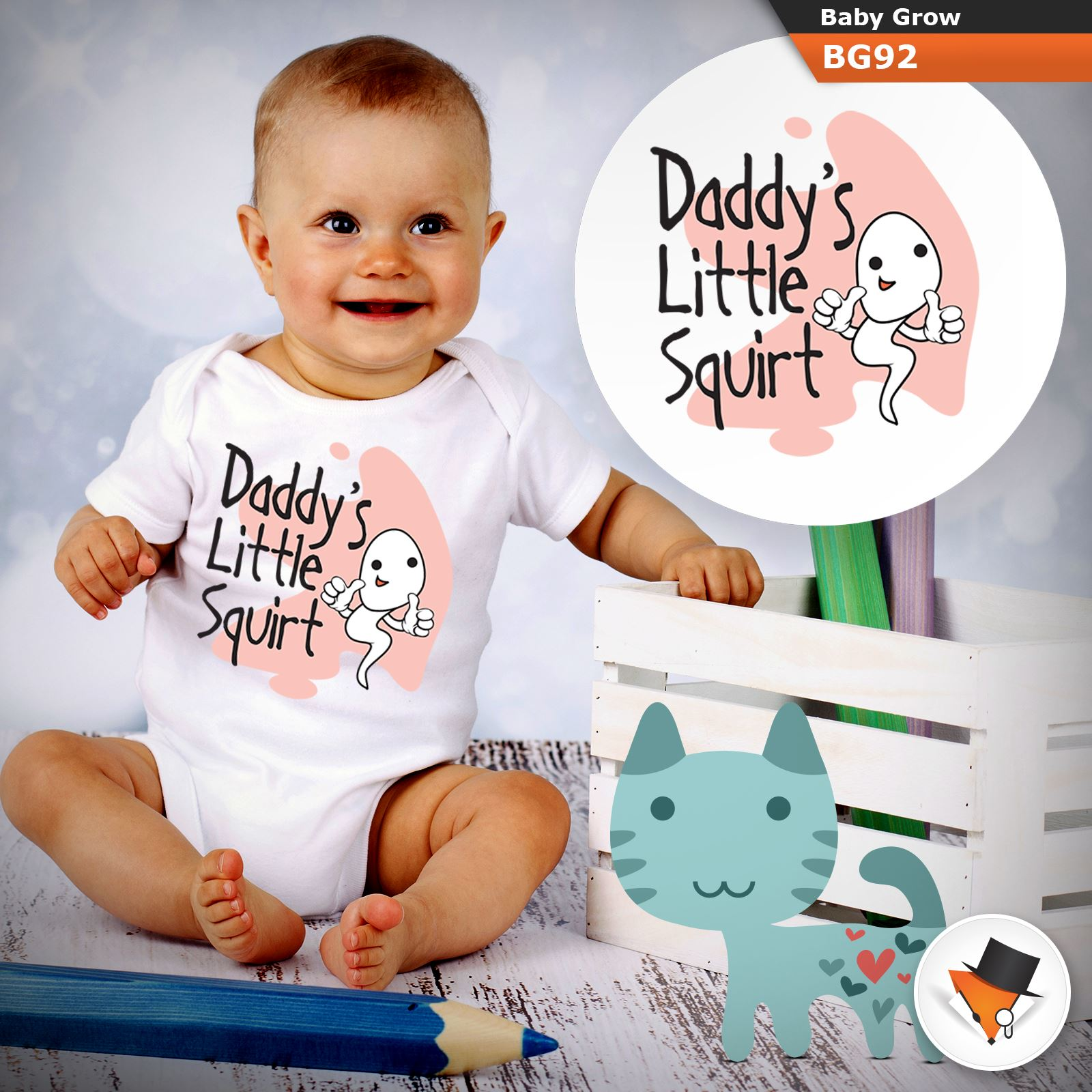 Daddys Lil Squirt Babygrow Baby Vest Funny Gift