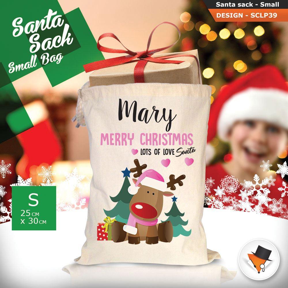 Personalizzato-Per-Bambini-Babbo-Natale-Sacco-Sacchetto-Cartone-Animato-Carina-Renna-Rosso miniatura 113