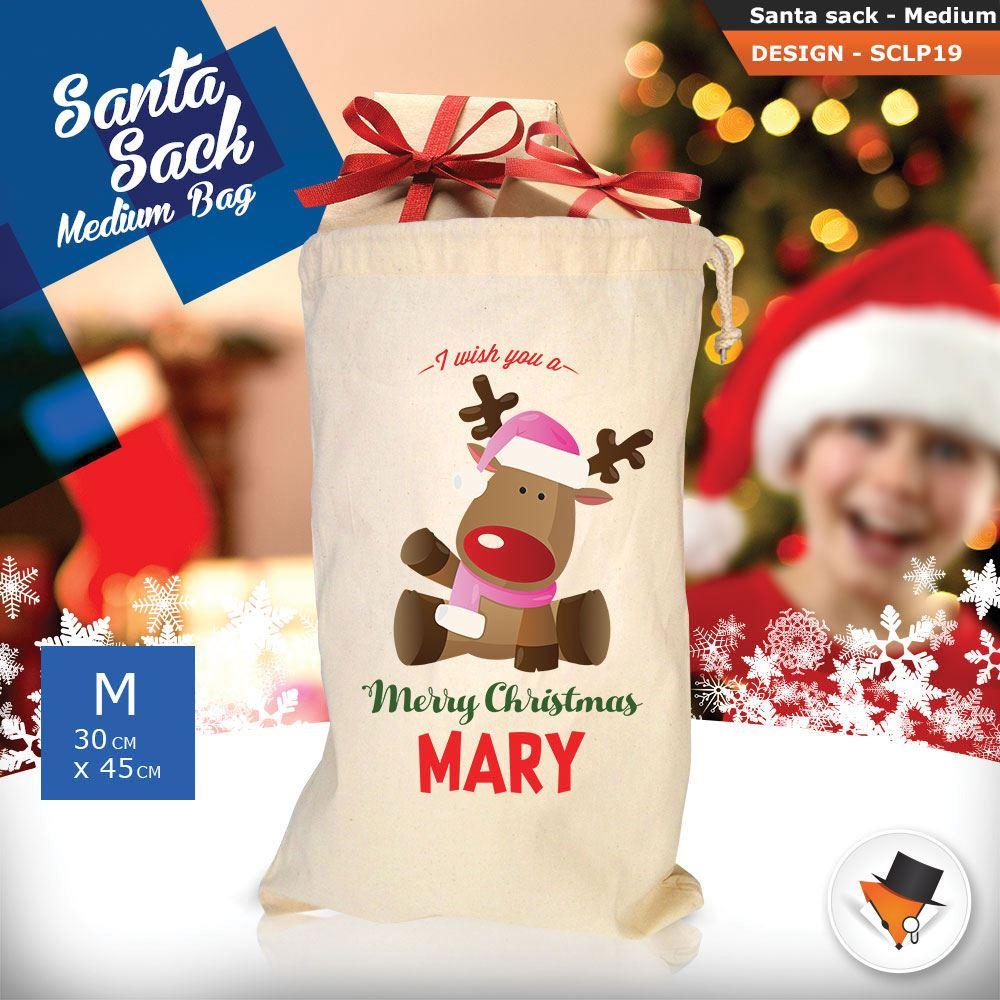 Personalizzato-Per-Bambini-Babbo-Natale-Sacco-Sacchetto-Cartone-Animato-Carina-Renna-Rosso miniatura 32