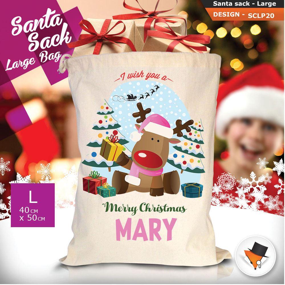 Personalizzato-Per-Bambini-Babbo-Natale-Sacco-Sacchetto-Cartone-Animato-Carina-Renna-Rosso miniatura 36