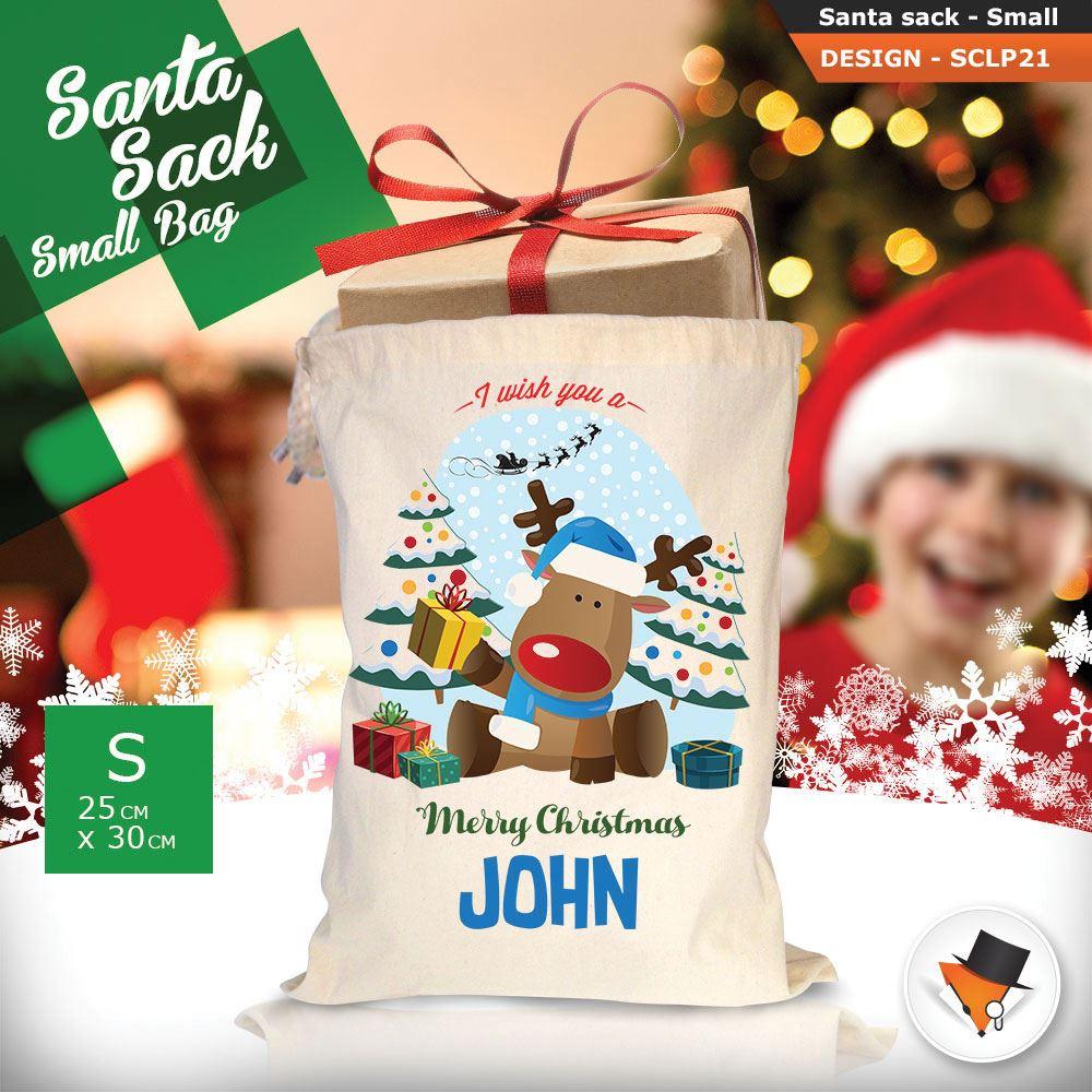 Personalizzato-ragazza-Renna-Natale-Xmas-Babbo-Natale-sacco-per-regalo-calza miniatura 41