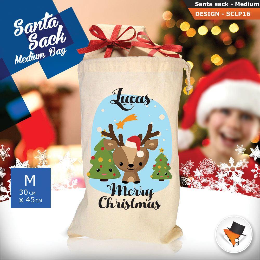 Personalizzato-Per-Bambini-Babbo-Natale-Sacco-Sacchetto-Cartone-Animato-Carina-Renna-Rosso miniatura 22
