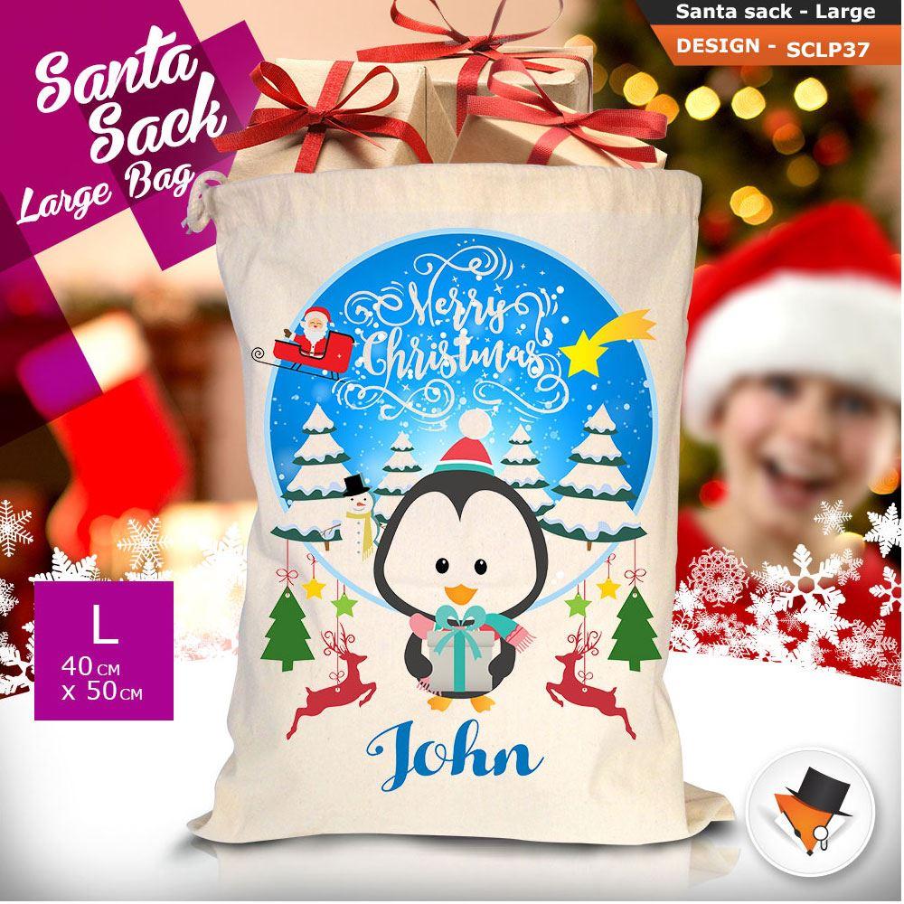 Personalizzato-Per-Bambini-Babbo-Natale-Sacco-Sacchetto-Cartone-Animato-Carina-Renna-Rosso miniatura 104