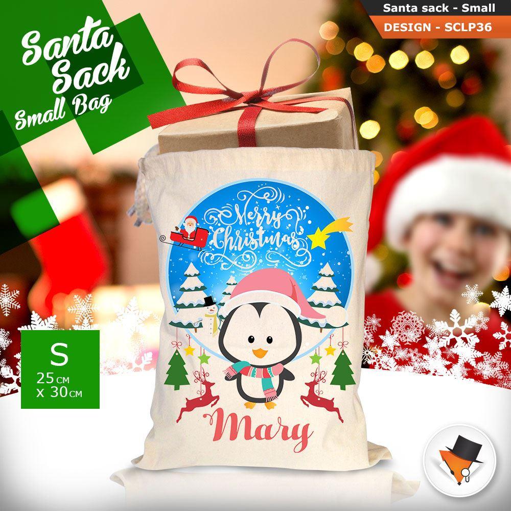 Personalizzato-Per-Bambini-Babbo-Natale-Sacco-Sacchetto-Cartone-Animato-Carina-Renna-Rosso miniatura 100