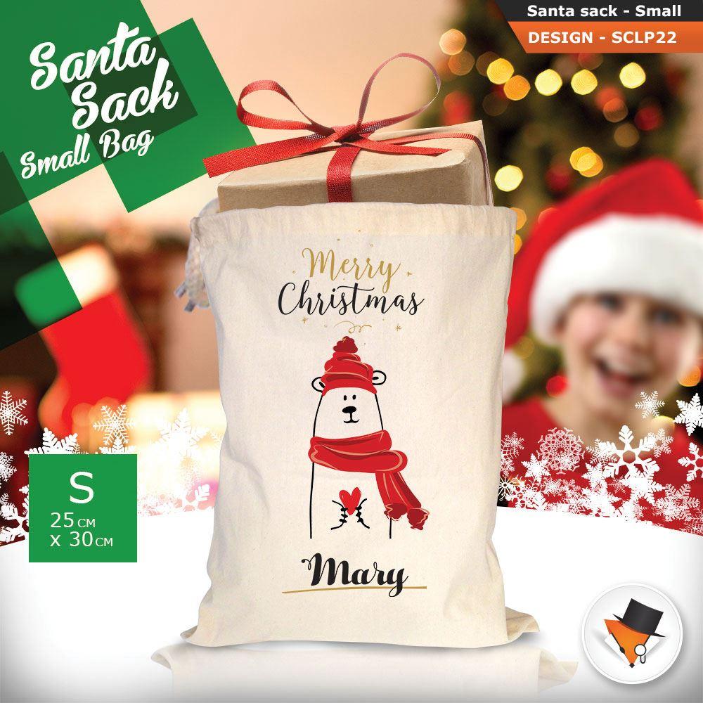 Personalizzato-Per-Bambini-Babbo-Natale-Sacco-Sacchetto-Cartone-Animato-Carina-Renna-Rosso miniatura 45