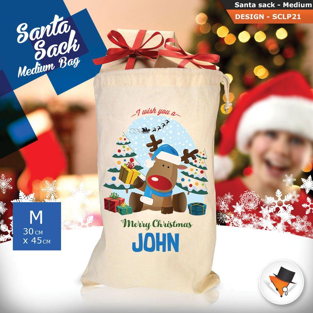 Personalizzato-Per-Bambini-Babbo-Natale-Sacco-Sacchetto-Cartone-Animato-Carina-Renna-Rosso miniatura 41