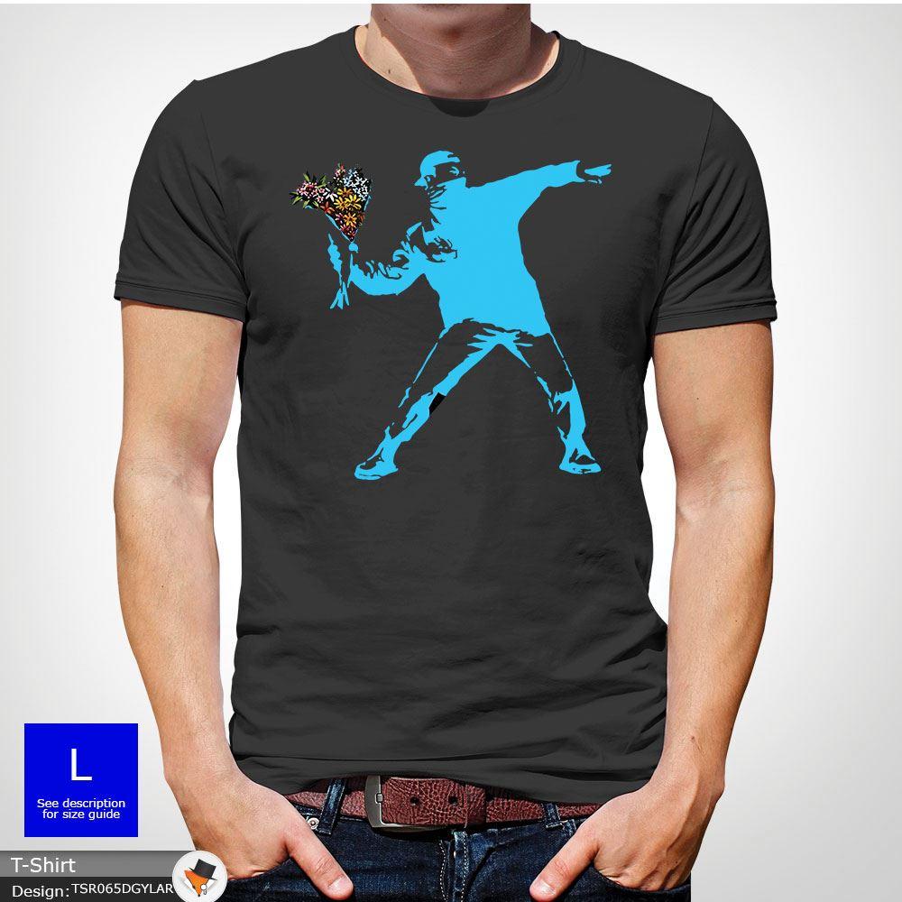 BANKSY-FLOWER-THROWER-STREET-ART-Tshirt-Unisex-T-Shirt-Christmas-Birthday-Blue miniatuur 18