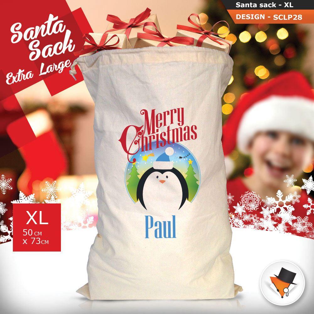 Personalizzato-Per-Bambini-Babbo-Natale-Sacco-Sacchetto-Cartone-Animato-Carina-Renna-Rosso miniatura 68