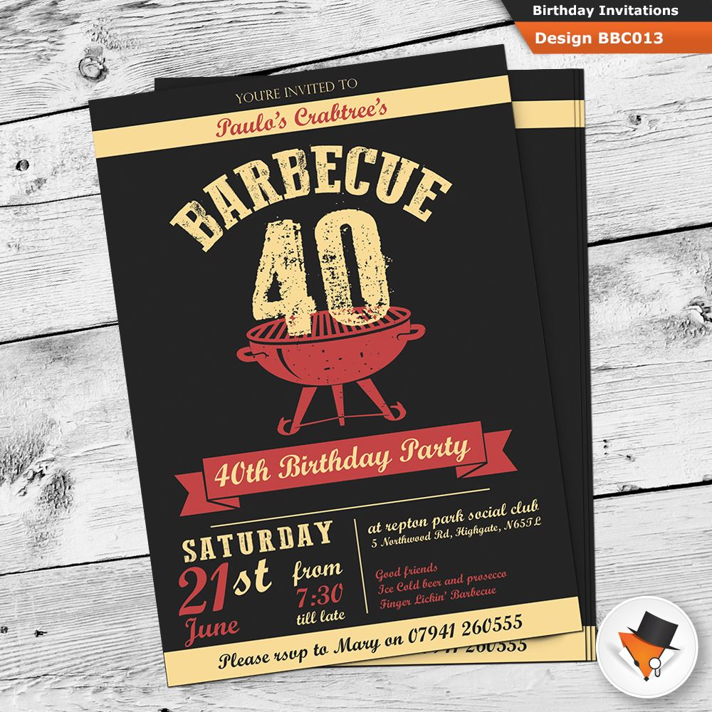 Personalised BBQ Barbeque birthday invitations with envs 21st 30th ...