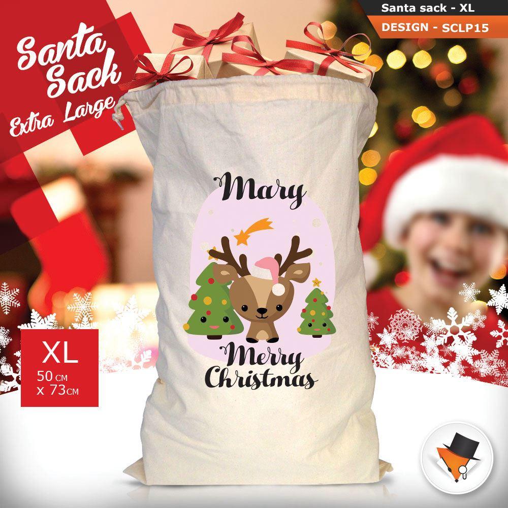 Personalizzato-Per-Bambini-Babbo-Natale-Sacco-Sacchetto-Cartone-Animato-Carina-Renna-Rosso miniatura 18