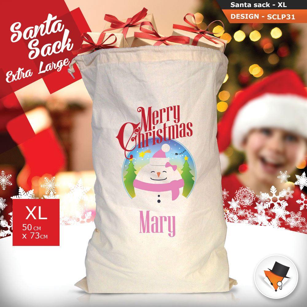 Personalizzato-Per-Bambini-Babbo-Natale-Sacco-Sacchetto-Di-Natale-Renna-Cartone-Animato-Carina-Rosa miniatura 82