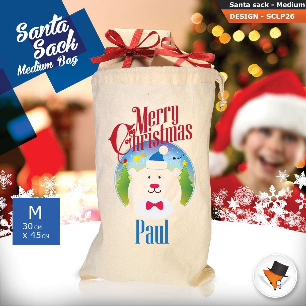 Personalizzato-Per-Bambini-Babbo-Natale-Sacco-Sacchetto-Cartone-Animato-Carina-Renna-Rosso miniatura 61