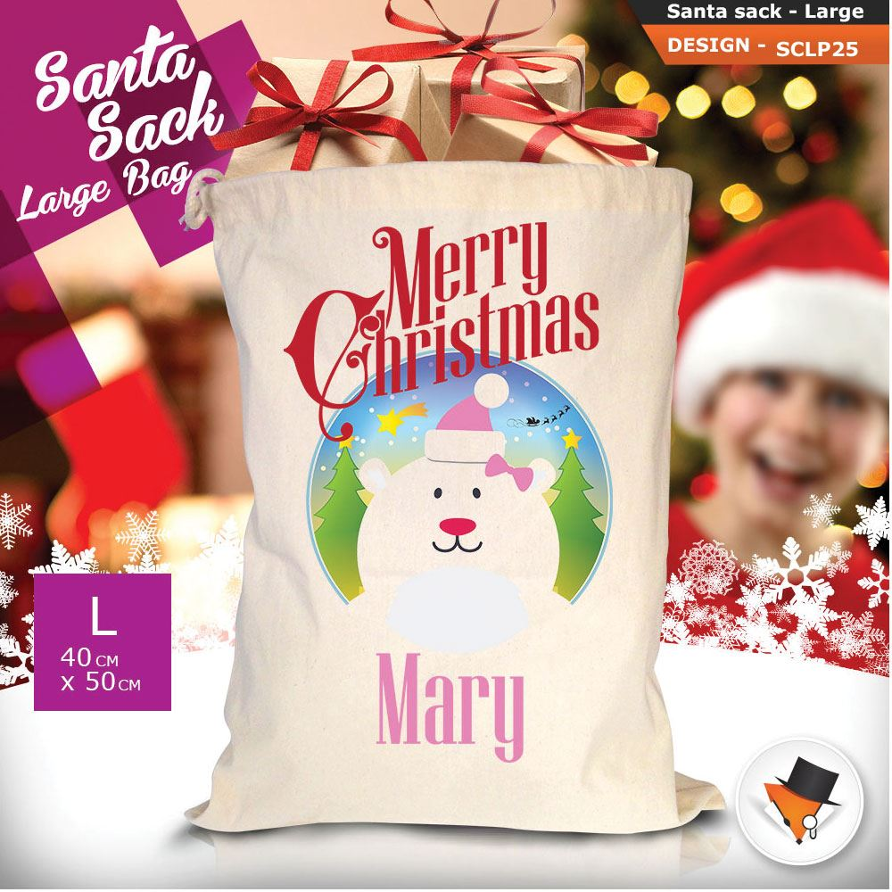 Personalizzato-Per-Bambini-Babbo-Natale-Sacco-Sacchetto-Di-Natale-Renna-Cartone-Animato-Carina-Rosa miniatura 56