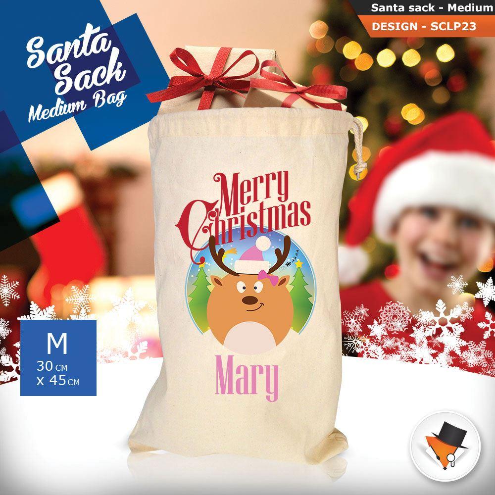 Personalizzato-Per-Bambini-Babbo-Natale-Sacco-Sacchetto-Cartone-Animato-Carina-Renna-Rosso miniatura 49