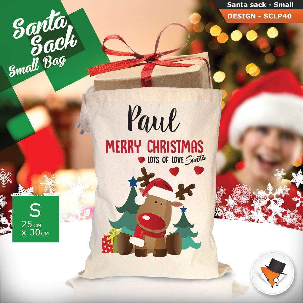 Personalizzato-Per-Bambini-Babbo-Natale-Sacco-Sacchetto-Cartone-Animato-Carina-Renna-Rosso miniatura 117