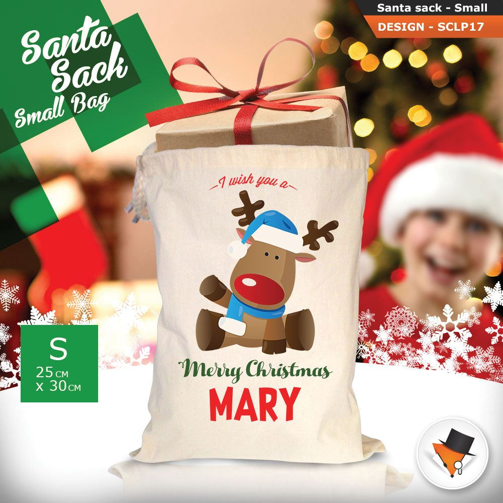 Personalizzato-Per-Bambini-Babbo-Natale-Sacco-Sacchetto-Cartone-Animato-Carina-Renna-Rosso miniatura 26