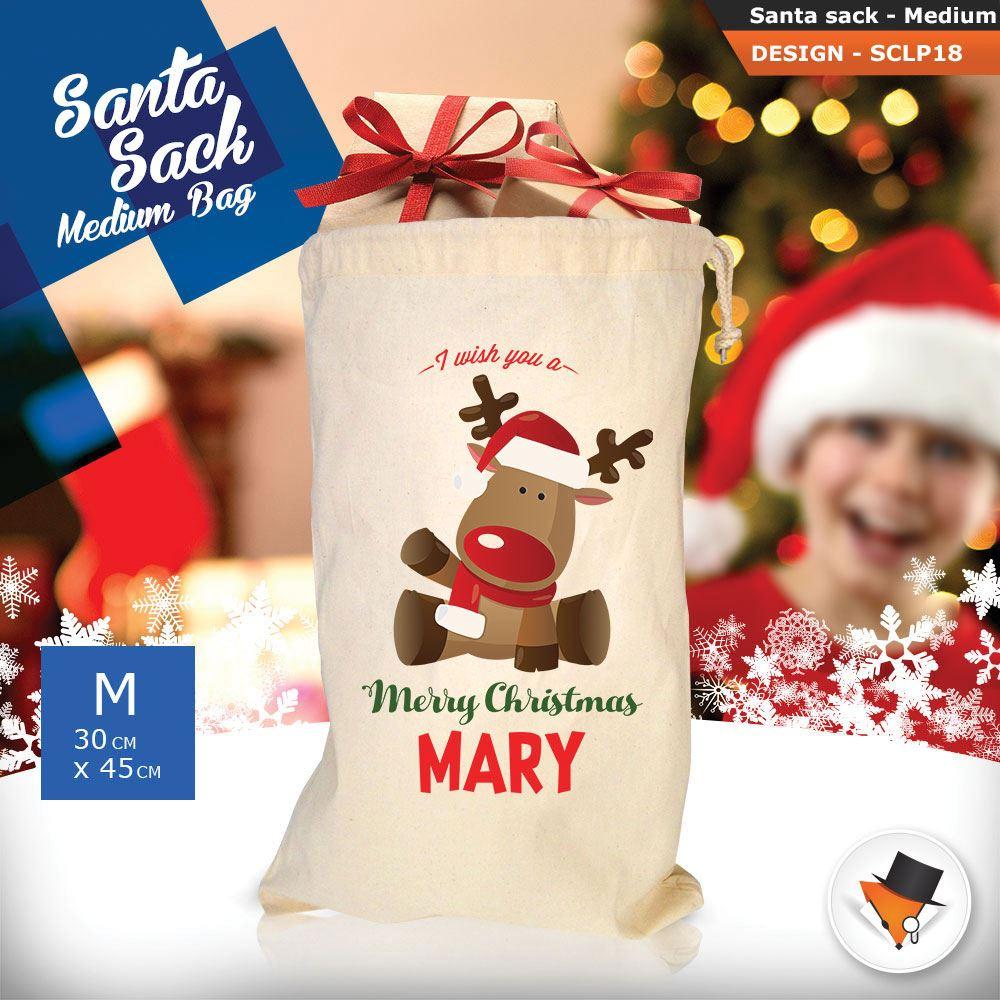Personalizzato-Per-Bambini-Babbo-Natale-Sacco-Sacchetto-Cartone-Animato-Carina-Renna-Rosso miniatura 29