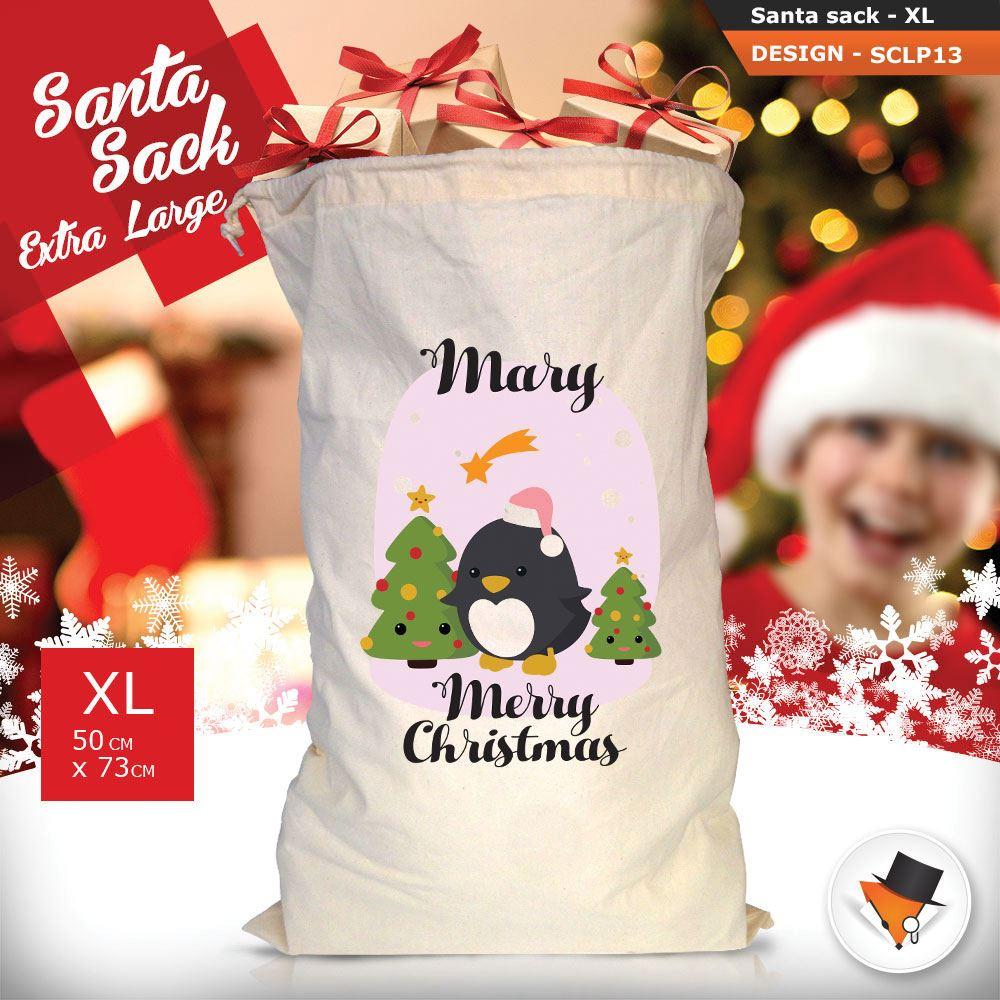 Personalizzato-Per-Bambini-Babbo-Natale-Sacco-Sacchetto-Di-Natale-Renna-Cartone-Animato-Carina-Rosa miniatura 8